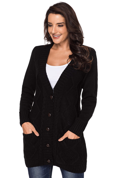 Fashion Black Front Pocket and Buttons Closure Cardigan