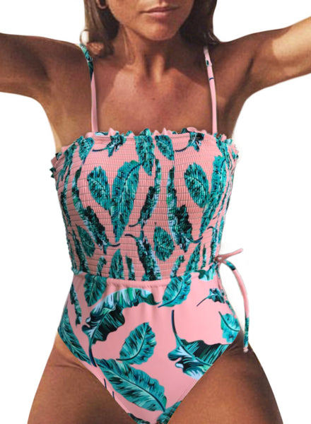 Fashion Side Tie Pink Flower Print One Piece Swimsuit