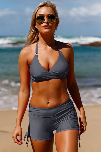 Gray Wrap Push up Halter High Waist Shorts Swimsuit