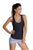 Grayish Print Sports Bra Tankini Swimsuit with Black Vest