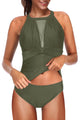 Green High Neck Mesh Ruched Push-up Tankini Swimwear