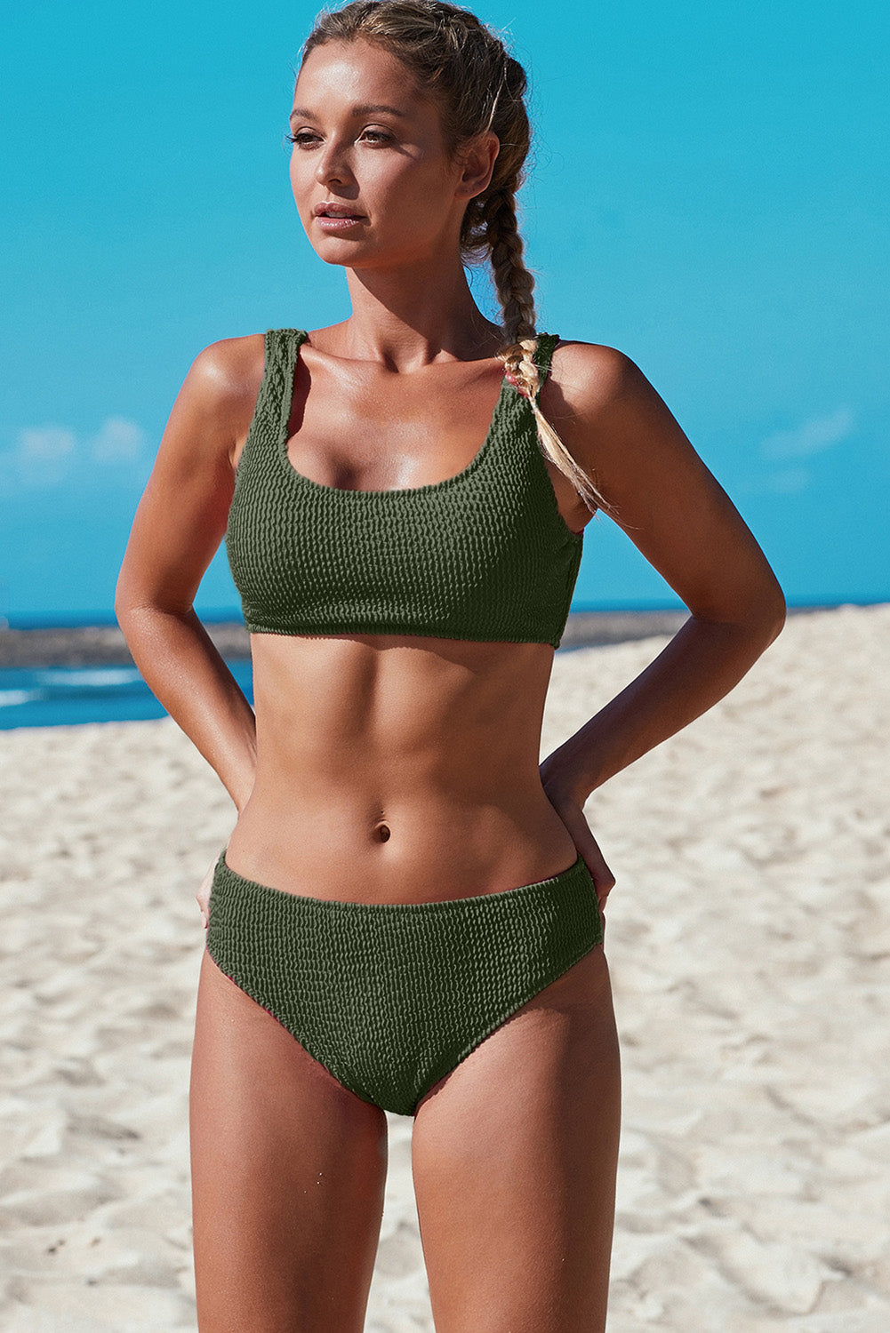 Green Sport Crop Top Mid Rise Bottom Two-piece Swimsuit