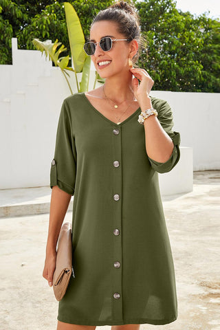 Green V Neck Button Front Roll up Tab Sleeve Casual Spring Dress