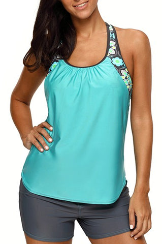 Green Blouson Style Floral T-back Tankini Top