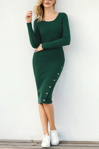 Green Button Detail Knee Length Sweater Dresses