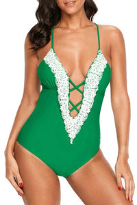 Green Crochet Deep V Neck Monokini Swimsuit