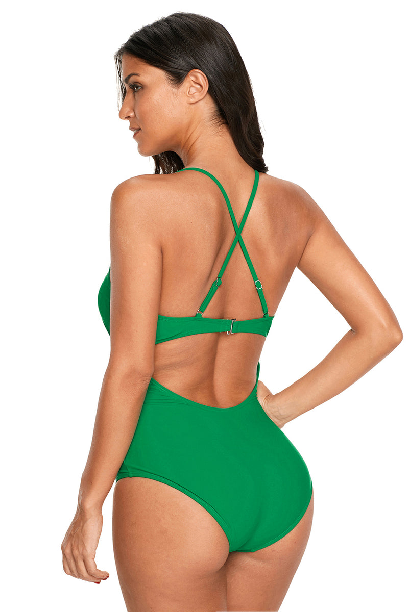 Green Crochet Deep V Neck Monokini Swimsuit Mb410490 9 Modeshecom