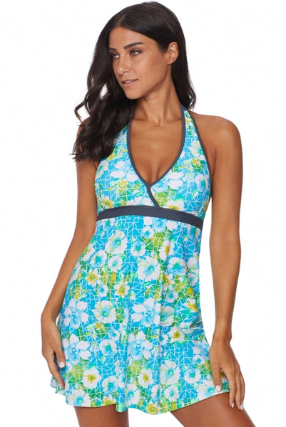 Green Floral High Waist Swim Dress with Panty