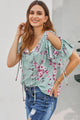 Green Floral Love Stitch Lifetime Cold Shoulder Top
