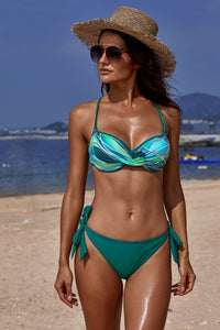 Green Printed Top Self-tie Panty Bikini Swimwear