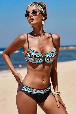 Green Retro Ethnic Print Bikini Swimsuit Set