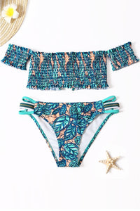 Green Tropical Printed Sleeve Smocked Two-Piece Swimsuit