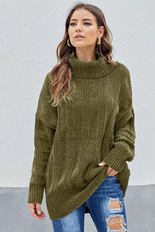 Green Turtleneck Soft Chenille Winter Long Sweater
