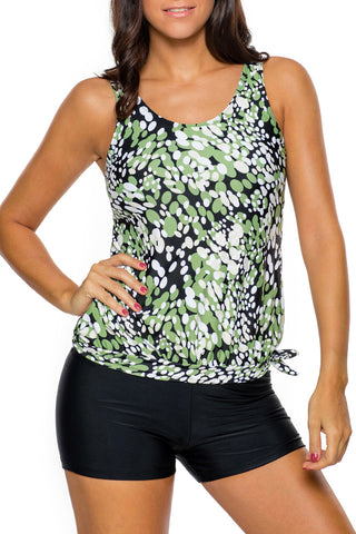 Greenish Dewdrop Print Blouson Tankini Swimsuit