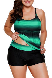 Greenish Strappy Hollow-out Back Plus Size Tankini Set