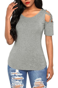 Grey Crisscross Cold Shoulder Short Sleeve T Shirt