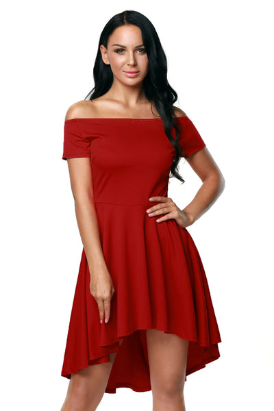 Hot Red All The Rage Off Shoulder High Low Skater Dress