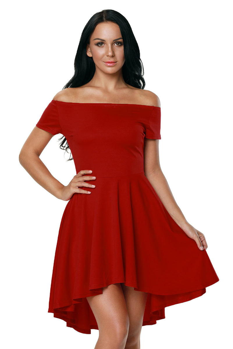 17906cb3933 Hot Red All The Rage Off Shoulder High Low Skater Dress MB61346-103 –  ModeShe.com