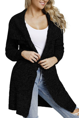 Hot Sale Black Chunky Long Cardigan with Side Pockets