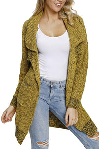 Hot Yellow Chunky Long Cardigan with Side Pockets