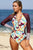Burgundy Siamese Printed Long Sleeve Surf Suit