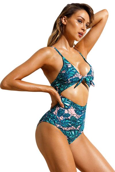 Leafy Print Cutout Tie Front Monokini Swimsuits