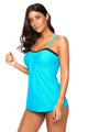 Light Blue Bandeau Tankini 2pcs Swimsuits