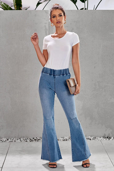 Light Blue Distressed Hole Bell Bottom Denim Pants
