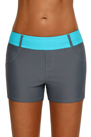 Mint Waistband Faux Denim Sports Shorts Swim Bottoms
