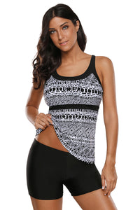 Monochrome Geometry Print Sporty Tankini Swimsuit