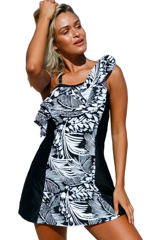 Monochrome Jungle Swimdress with Shorts