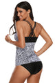 Monochrome Paisley Print 2pcs Tankini Bathing Suits