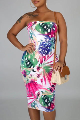 Multi-color Tropical Print Strapless Tube Bodycon Dress