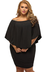 Multi-way Layered Ruffle Black Mini Plus Size Party Dress