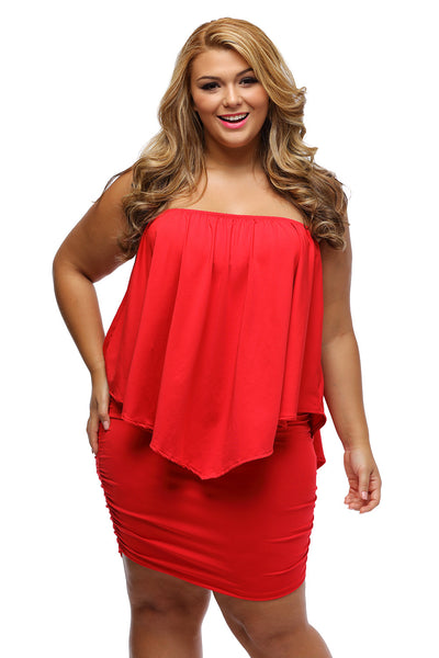 Multi-way Layered Ruffle Red Mini Plus Size Dress