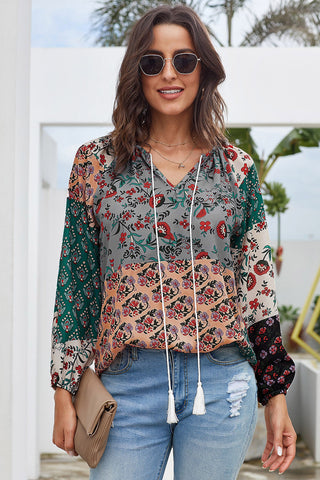 Multicolor Floral Print Peasant Long Sleeve Blouse