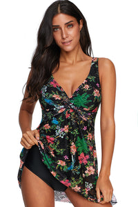 Multicolor Floral Print Twist Tankini Swimwear