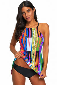 Multicolor Patterned 2 Piece Cami Tankini