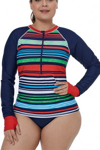 Multicolor Striped Long Sleeve Front Zip Rashguard Swim Top