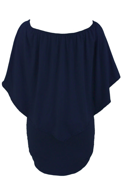 Multiple Dressing Dark Blue Flounce Mini Dress