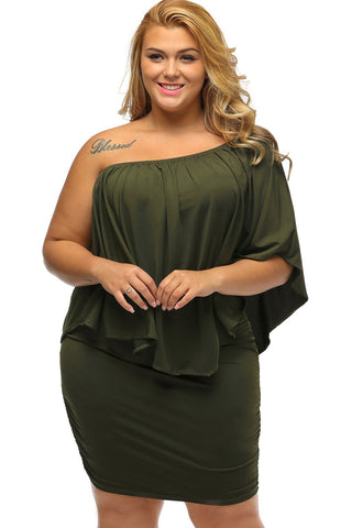 Multiple Dressing Layered Army Green Plus Size Mini Dress