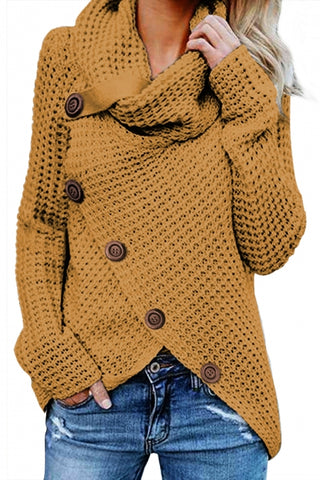 Mustard Buttoned Wrap Turtleneck Sweater