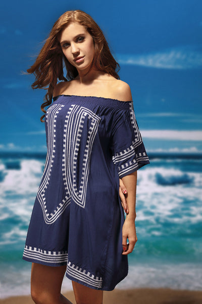 Navy Blue Bohemian Vibe Geometric Print Off The Shoulder Beach Dress