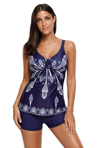 Navy Blue Printed Tummy Slimmer Tankini Swimsuit