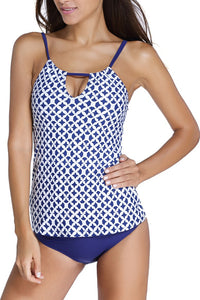Navy Coastal Geo Print 2pcs Tankini Swimsuit