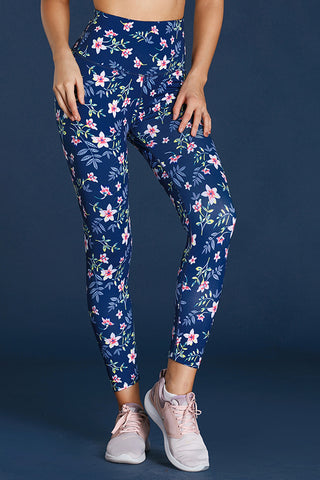 Navy High Waist Floral Print Compression Womens Leggings