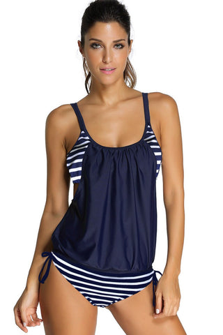 Navy Layered-Style Striped Two Piece Tankini Swimsuit
