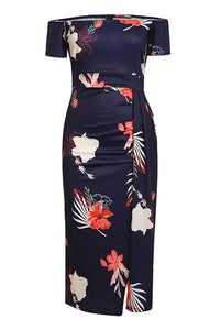 Navy Red Floral Print Short Sleeve Off Shoulder Midi Bodycon Dresses