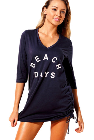 Navy Ruched Tie Side V Neck Beach Cover Up