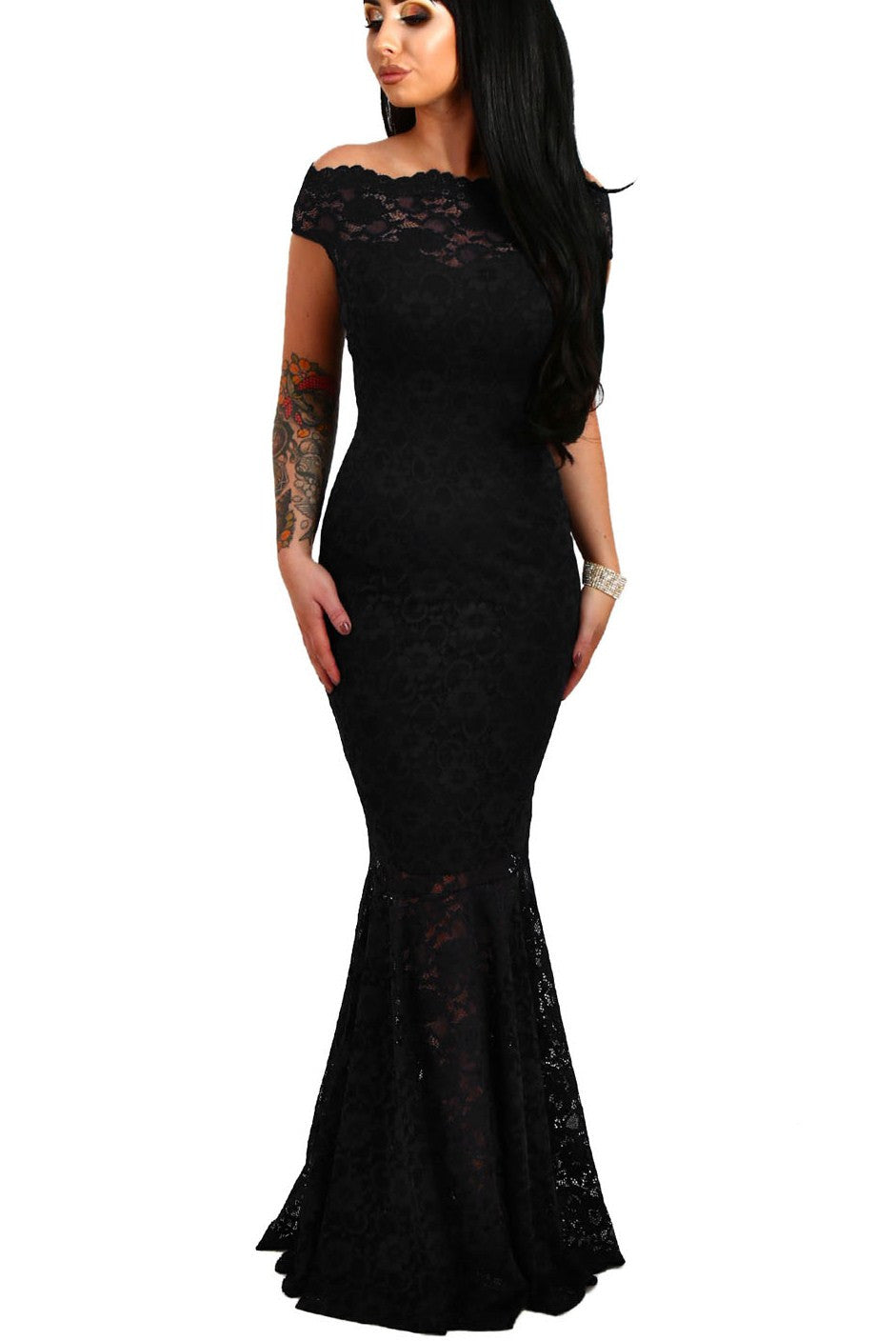 Off The Shoulder Fishtail Black Lace Long Formal Dress